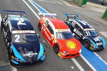 Três dos cinco pilotos que testaram os carros do Brasileiro de Turismo em SP. - Carsten Horst/Hyset